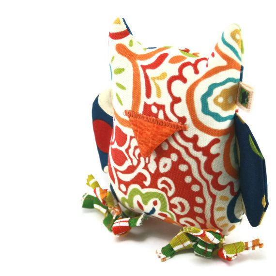 """""""For the artsy dog, there are all kinds!"""" Christmas Dog Gift: Extra Durable Dog Toy Owl 'DOUBLE FABRIC LAYER by wagsandwiggles, $15.99"""