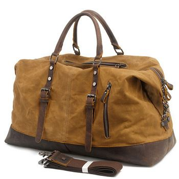 5382fe136f Vintage Military Canvas Leather Men Travel Bags Carry On Luggage Bags Men  Duffel Bags Travel Tote