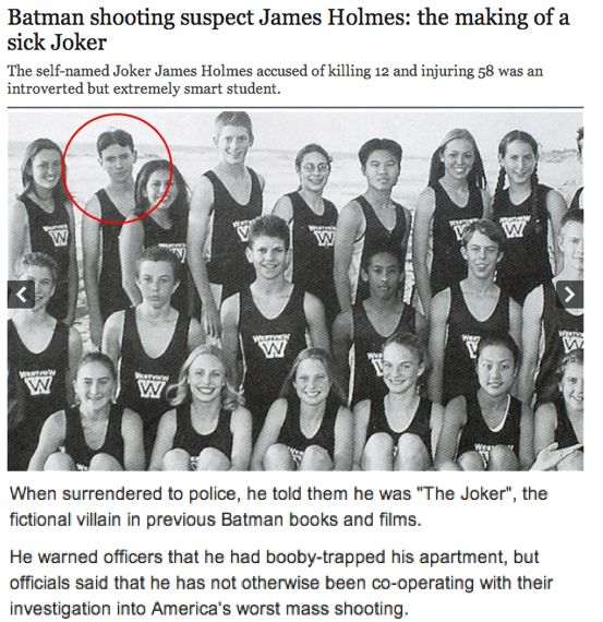 The Batman Massacre in Colorado, US. The mass killer, James Holmes, shoots innocent civilians during the midnight showing of The Dark Knight - influenced by the cynical role of the Joker. This article says that he was an extremely smart child-teenager growing up, but the reason to his actions remain unanswered. http://www.telegraph.co.uk/news/worldnews/northamerica/usa/9417789/Batman-shooting-suspect-James-Holmes-the-making-of-a-sick-Joker.html