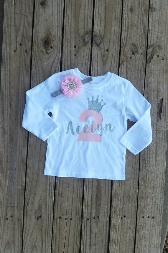 Two Year Old Girl Birthday Outfit 2 Party Personalized Shirt Silver Glittered Trendy In 2019