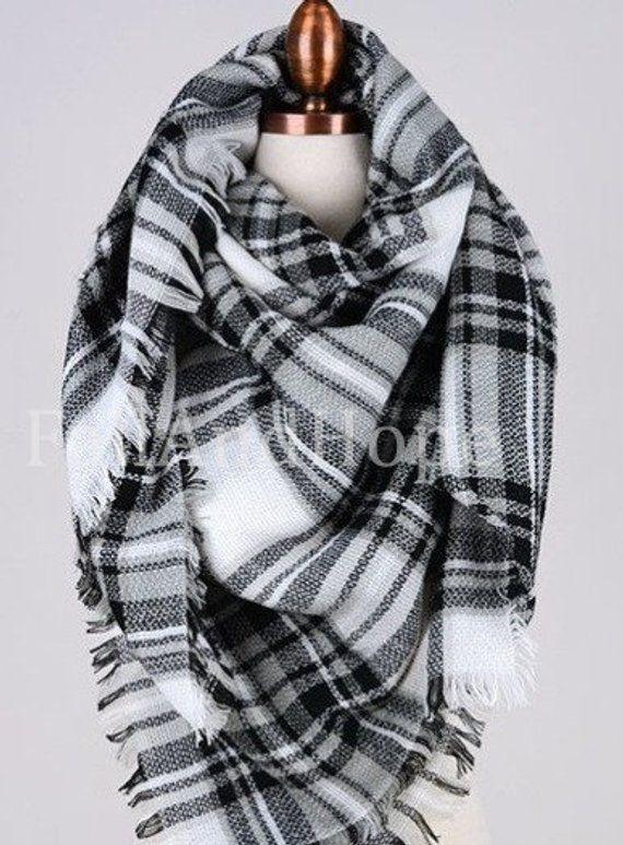 5e12ce4a7 White Black Blanket Scarf, blanket scarf plaid, blanket scarf wool, winter  scarf, scarf women, scarv