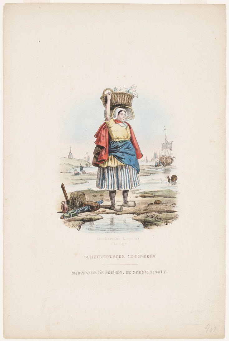Scheveningsche Vischvrouw Zij draagt een mutsje met vishoed, een rode schoudermantel met geel jak en witte halsdoek. Waarschijnlijk zijn de blauw-wit gestreepte rok en schort opgetrokken. Onder de rok zijn klompen en kousen te zien. Rechts van haar ligt gereedschap. Op de achtergrond een bomschuit met figuren erom heen en een Scheveningse kerk. 1850 kunstenaar: Last, Hendrik Wilhelmus uitgever: Lier, D. van #ZuidHolland #Scheveningen
