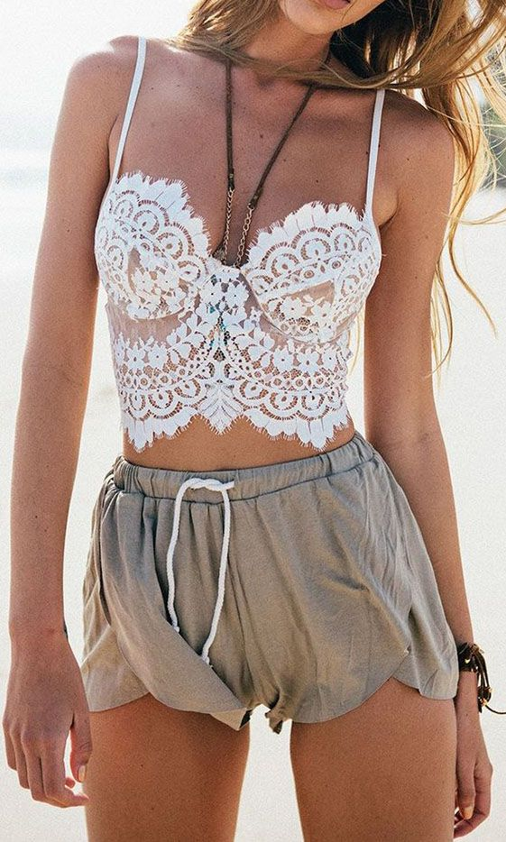 White Sheer Eyelash Lace Spaghetti Strap Crop Cami