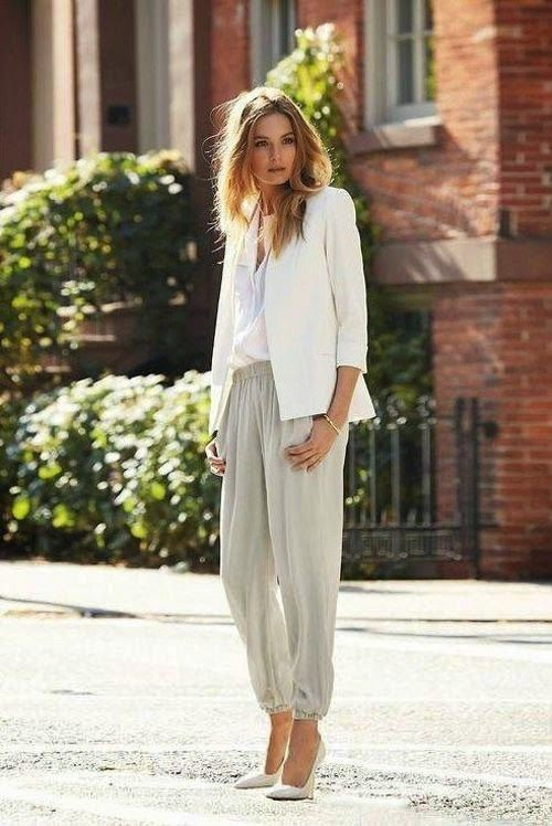 Street style white blazer and neutral trousers