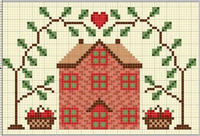 Apple Cottage cross-stitch - free
