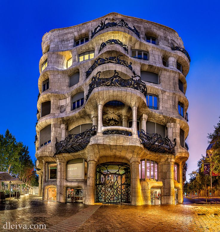 La Pedrera. This is one of Gaudí's main residential buildings and one of the most imaginative houses in the history of architecture.  This building is more sculpture than a building.  The façade is a varied and harmonious mass of undulating stone that, along with its forged iron balconies, explores the irregularities of the natural world.  UNESCO recognized this building as World Heritage in 1984.