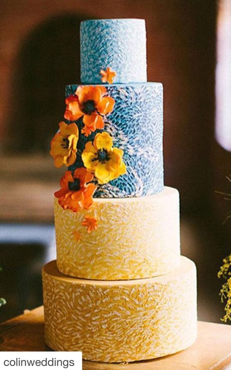 The blue cake company wedding cakes birthday cakes 2016 car release - Sunny 4 Tiered Yellow And Blue Wedding Cake For A Happy Wedding Celebration Find This Pin And More On Cakes For The