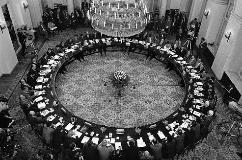 On February 6th 1989, representatives of the communist regime and the Solidarity opposition movement sat down at the Round Table for the first time to hold talks which initiated and came to symbolize a peaceful transition of power in Poland.