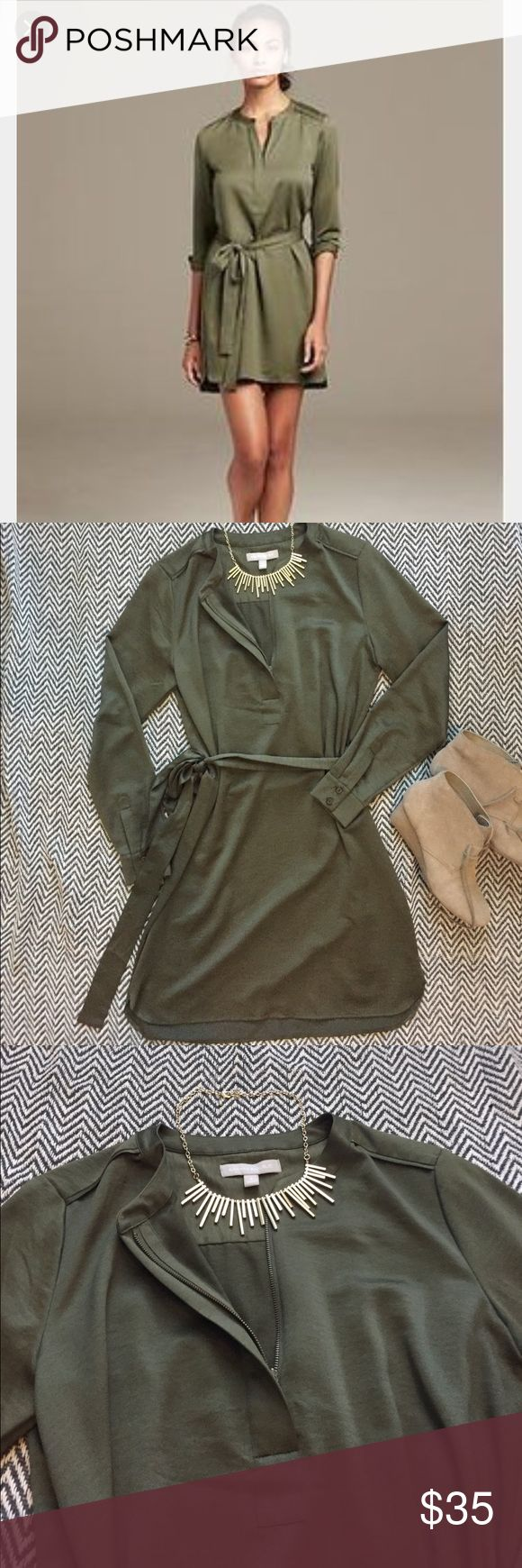 Banana Republic Silk Tunic Dress Worn a few times, usually as a business casual outfit. With brown boots or tan booties. Pairs well with gold or bronze jewelry. I'm good condition except for small snag on the left hip (see last pic) Banana Republic Dresses Midi
