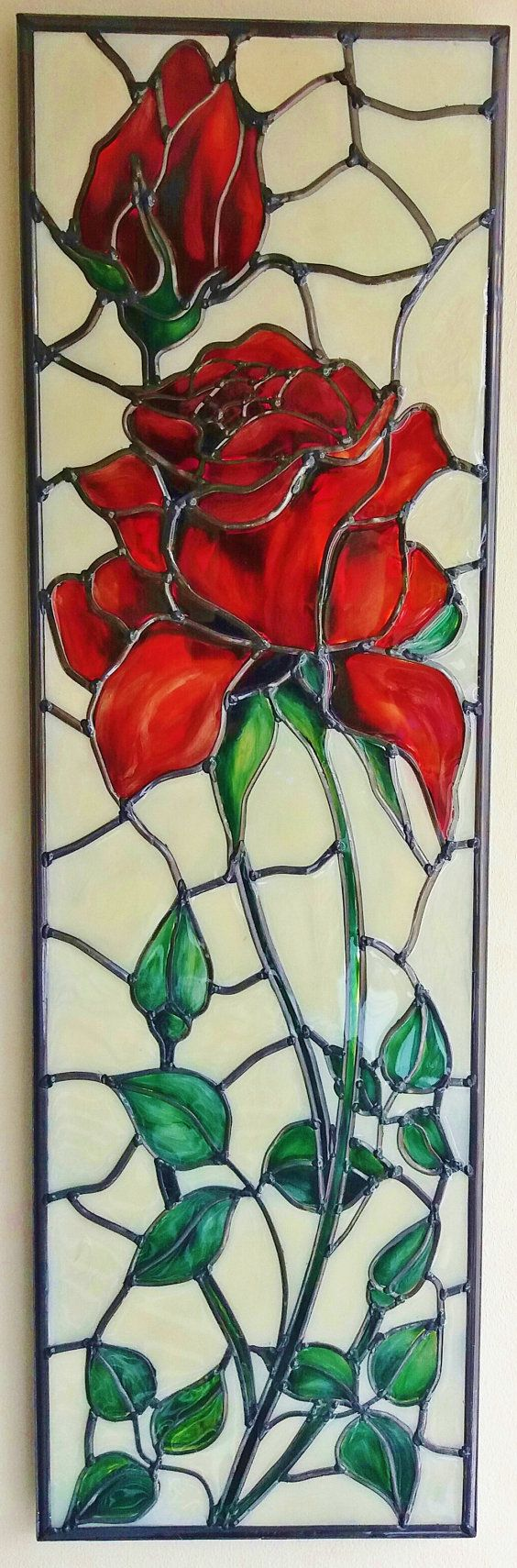 Red Rose ~ A bespoke Art Nouveau ~ Tiffany style and inspired 'Rose' leaded, stained glass effect decorative wall panel. By Douglas Payne.