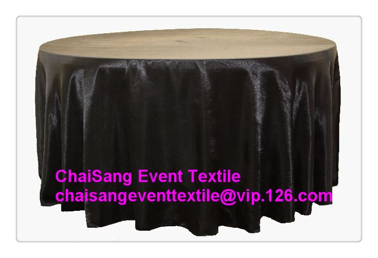 "Factory Direct Sale 10pcs # Black 120"" Round Satin Table Cloth   ,Satin Table Cloth For Wedding Event Decoration"