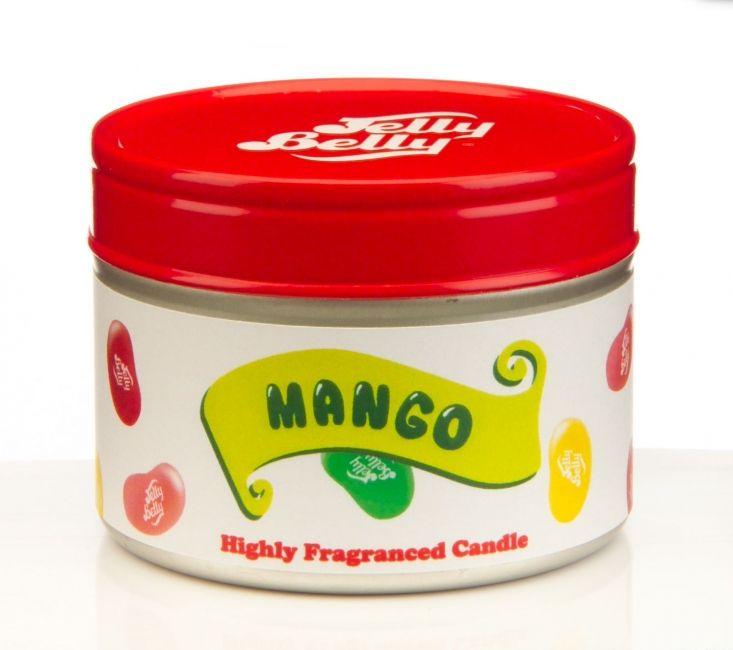 Jelly Belly Mango - Een sappige mango mix van perzik, meloen, peer en aardbei met een vleugje jasmijn en jacaranda.Laat de fantastische Jelly Belly kaarsen uw kamer vullen met de heerlijke geuren van hun welbekende bean smaken! Keuze uit maar liefst 15 verschillende jelly bean geuren.Brandduur: 16 uurafmetingen: 4,9 x 6,5 cm -