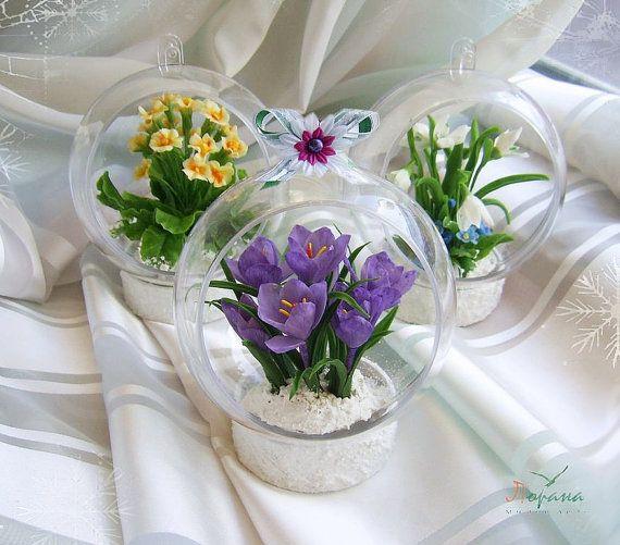 Новогодние интерьерные шары с цветами из от ShtankoLarisa на Etsy