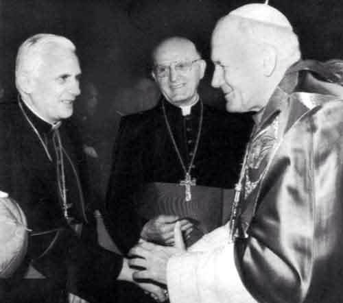 The last 3 popes. Blessed John Paul II, Pope E meritus Benedict XVI and Pope Francis.