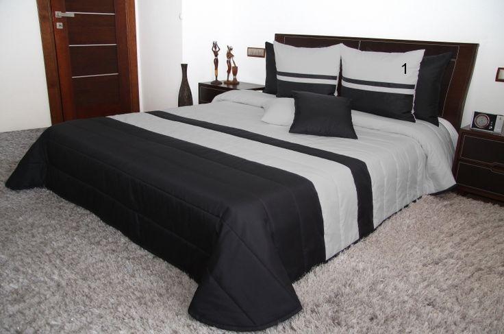 Luksusowa narzuta na łóżko pikowana szaro czarna