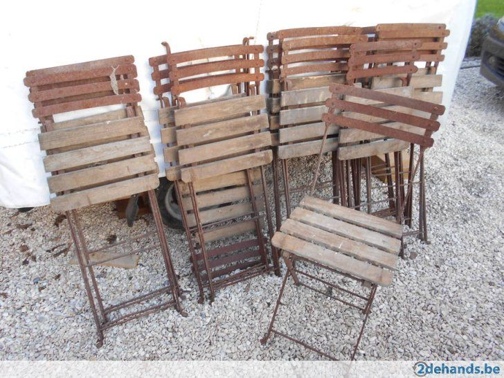 simple lot de chaises pliantes bistrot mtal et bois with chaises bistrot anciennes. Black Bedroom Furniture Sets. Home Design Ideas