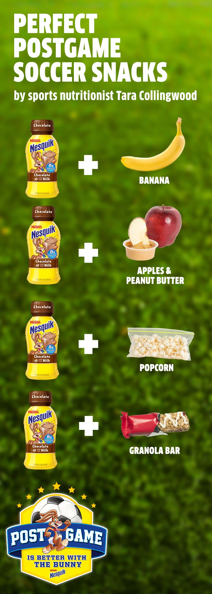 """As team mom there's a lot to worry about — so we teamed up with sports nutritionist Tara Collingwood, MS, RDN, CSSD to create a """"tip sheet"""" full of healthy postgame snack ideas. Pair a Nesquik with one of these nutritious options for an all-around balanced snack for young soccer stars. Research shows that low-fat chocolate milk, with the ideal 3:1 ratio of carbohydrates to protein, is a great option to nourish tired muscles after prolonged activity. The team will love these winning combos!"""