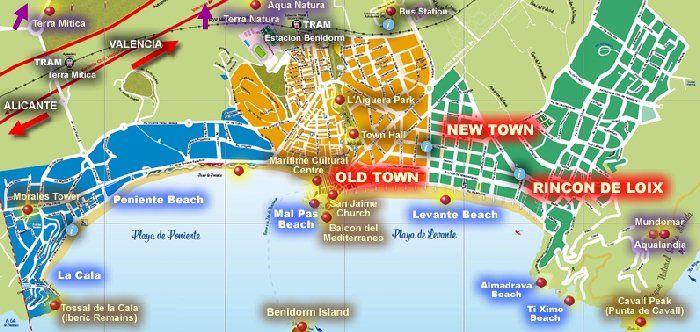 Map of Alicante Beaches