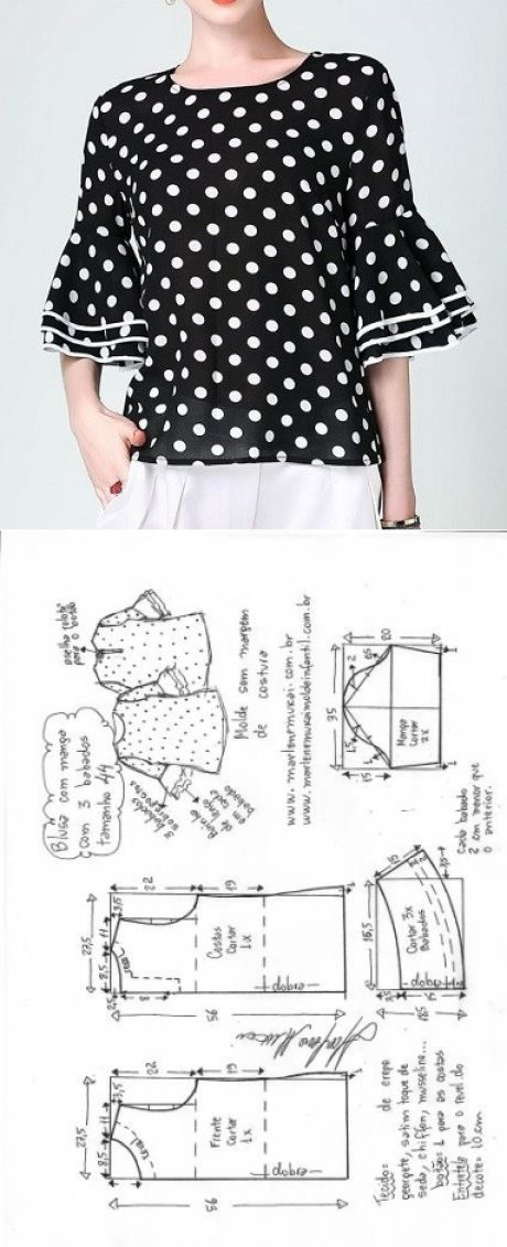 Blusa com manga 3 babados | DIY - molde, corte e costura - Marlene Mukai