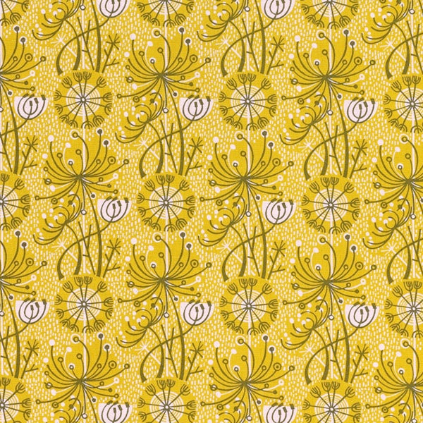 Dandelion One Sage/Yellow by Angie Lewin.    This and others available from  http://www.stjudesfabrics.co.uk/collections/angie-lewin/products/dandelion-one#