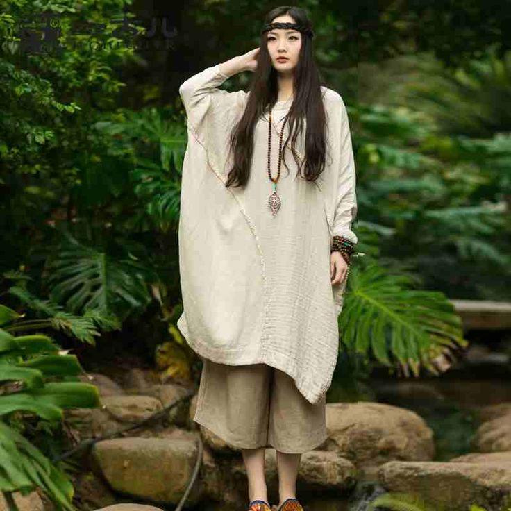 吉丘古儿原创设计师森系女装 柔软纯棉宽松蝙蝠袖不对称连衣裙-淘宝网