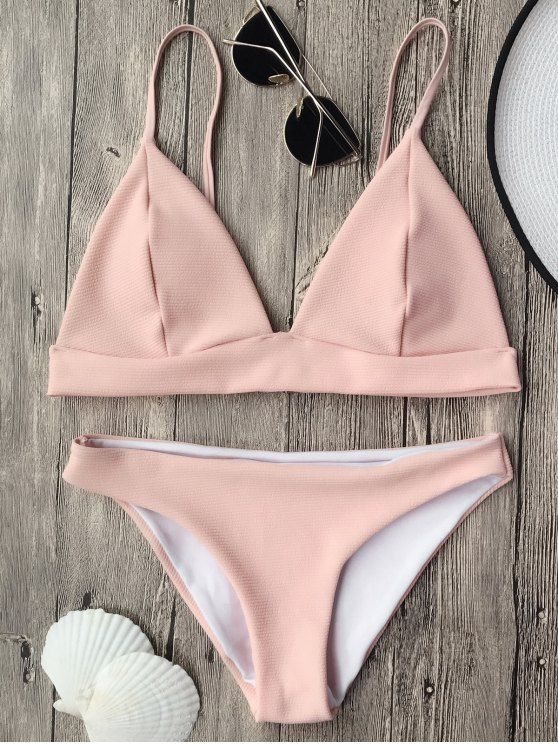 $13.49 Cami Plunge Bralette Bikini Top and Bottoms - PINK M