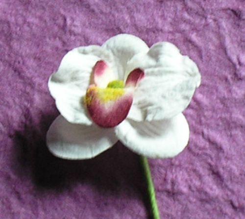 50 HANDMADE mulberry paper flower 25mm MINI FARLAND ORCHID on 70mm stem. | eBay