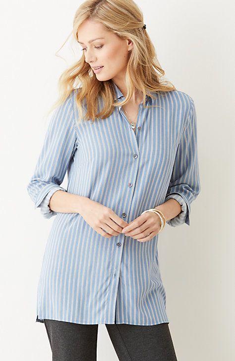 striped button-front shirt, JJil, $89