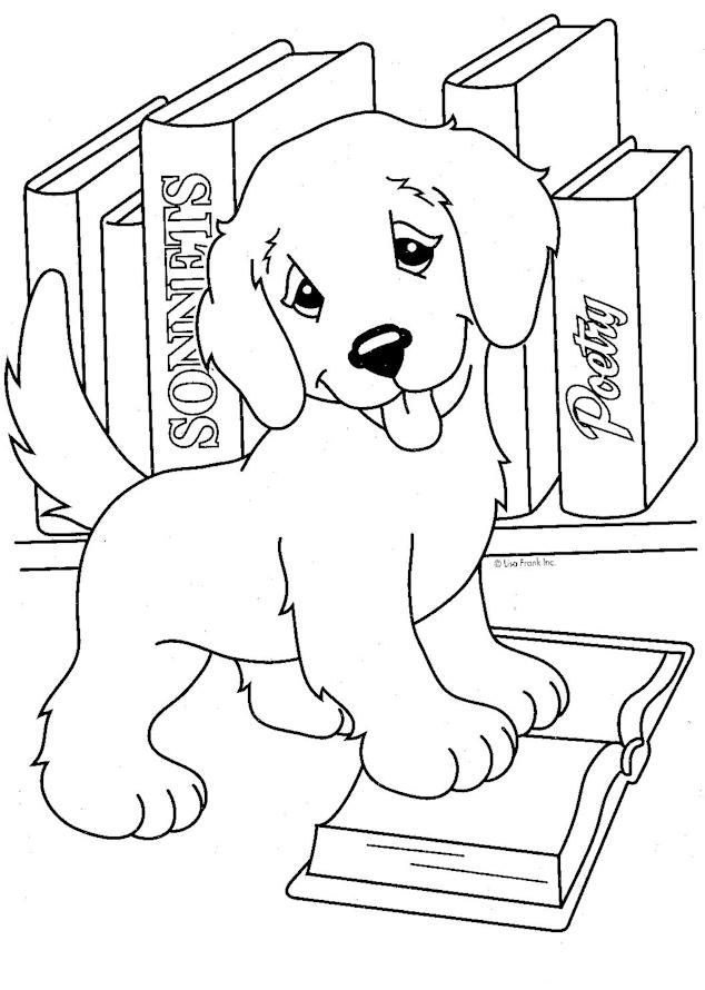 - Lisa Frank Coloring Pages Cute Puppy And Books Puppy Coloring Pages, Dog Coloring  Page, Animal Coloring Pages