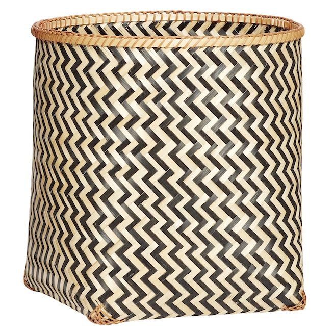 Giant Geometric Bamboo Basket - Medium: These beautiful woven Bamboo Baskets in an eye catching Danish design are available in three generous sizes.  Perfect for a variety of storage in any room. The large size is perfect for laundry, cushions, throws etc and all three have plenty of room for toys, clothes, towels and products etc. Striking Scandinavian Design which is guaranteed to make a stylish impact in any setting.
