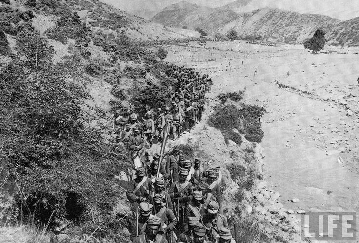 Greek soldiers moving through the Kresna Pass during World War I