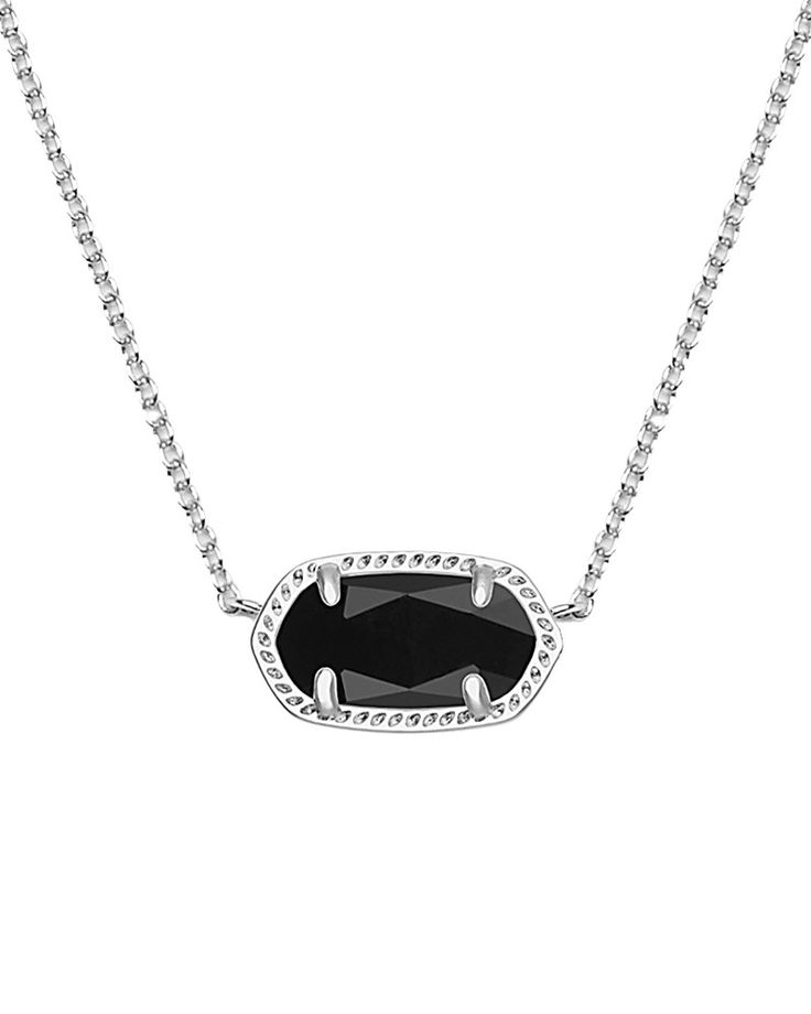 Elisa Silver Pendant Necklace in Black - Kendra Scott Jewelry