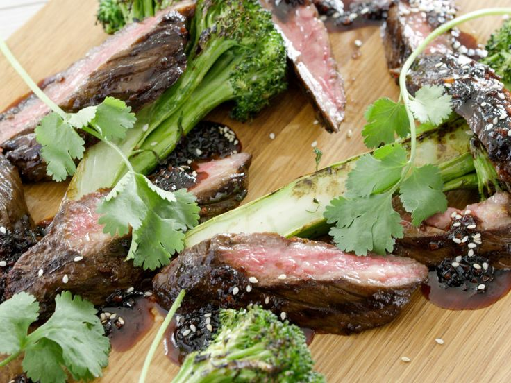 Grilled Skirt Steaks with Hawaiian-Style Teriyaki Glaze and Grilled Broccoli recipe from Tyler Florence via Food Network