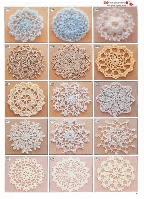 2180 crochet charts. Flowers, borders, motifs