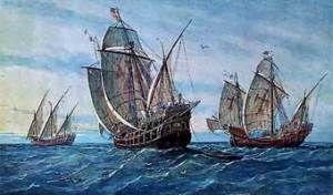 Las tres carabelas de Cristobal Colon.