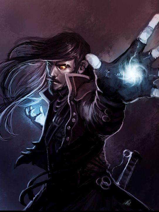 An arcane mage preparing an arcane spell.  The fingerless gloves are a nice…