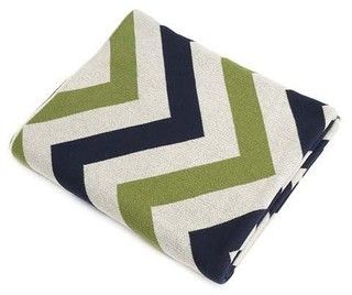 Navy/Green/Ivory Chevron Cotton Blanket - transitional - bedroom products - by Belle and June