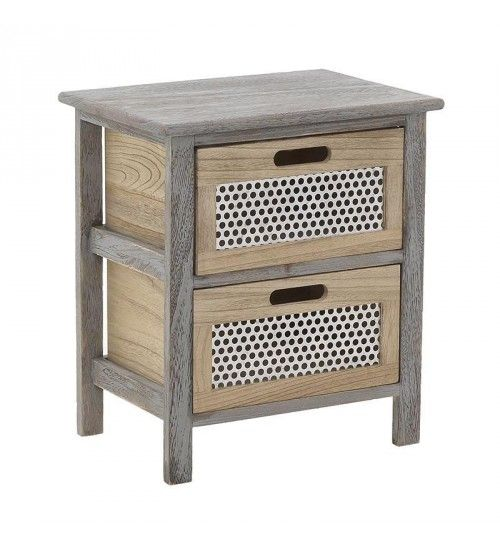 WOODEN BEDSIDE TABLE IN GREY_NATURAL COLOR W_2 DRAWERS 38X27X44
