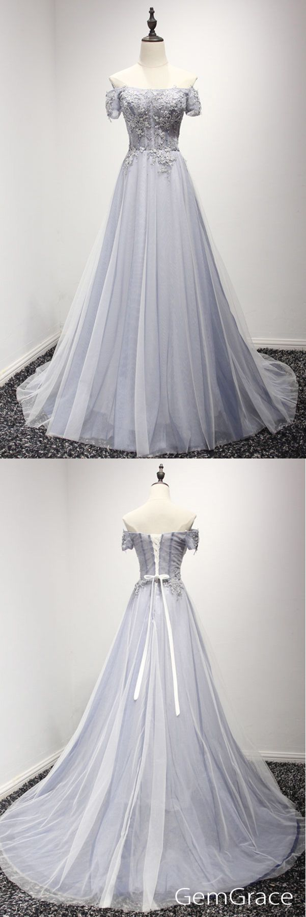 Dusty grey long tulle train length prom dress with off shoulder. Pro custom by