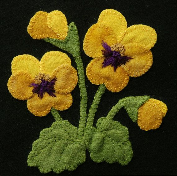"Wool applique BOM PATTERN &/or KIT ""Yellow Pansies"" 6x6 block 1 of 24 in ""Four Seasons of Flowers"" folk wool quilt wall hanging table runner"