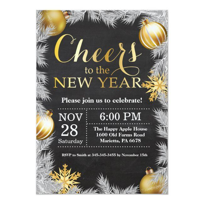 Rustic Gold New Year Eve Party Invitation Zazzle Com New Years Eve Invitations New Years Eve Party Party Invitations