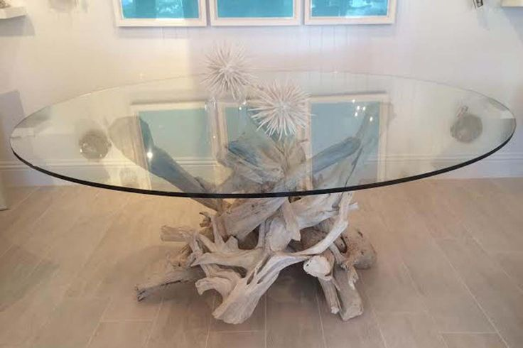 "Hampton Driftwood Dining Table Base for 48"" Round Glass Top (Glass Top not included)"
