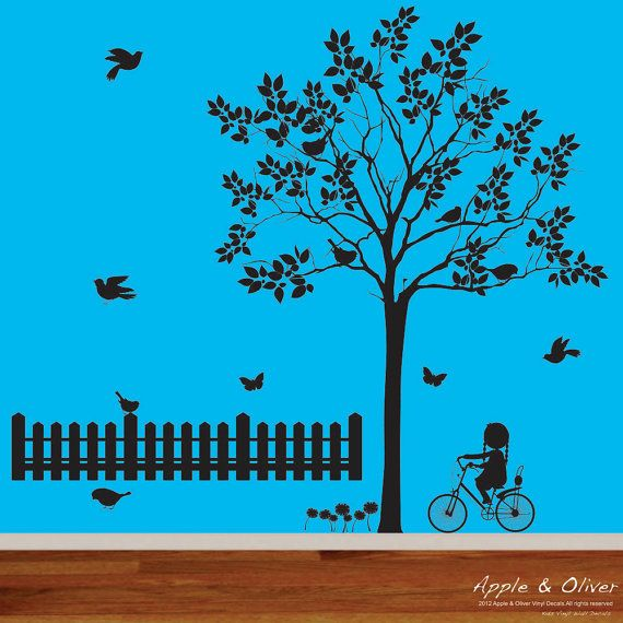 Modern nursery wall decal black tree with birds butterflies flowers fence girl on bicycle vinyl decal set.      { Decal Kit Includes }    *Tree  *8 birds  *2 butterflies  *flowers  *fence *girl on bicycle  *step by step application instruction    { Size }    Tree size 58W x 76H    { Choose Color }    * choose your colors from the color chart    Please leave message with your color choices in the message box when checking out. The default colors will be sent if colors are not specified.    {…