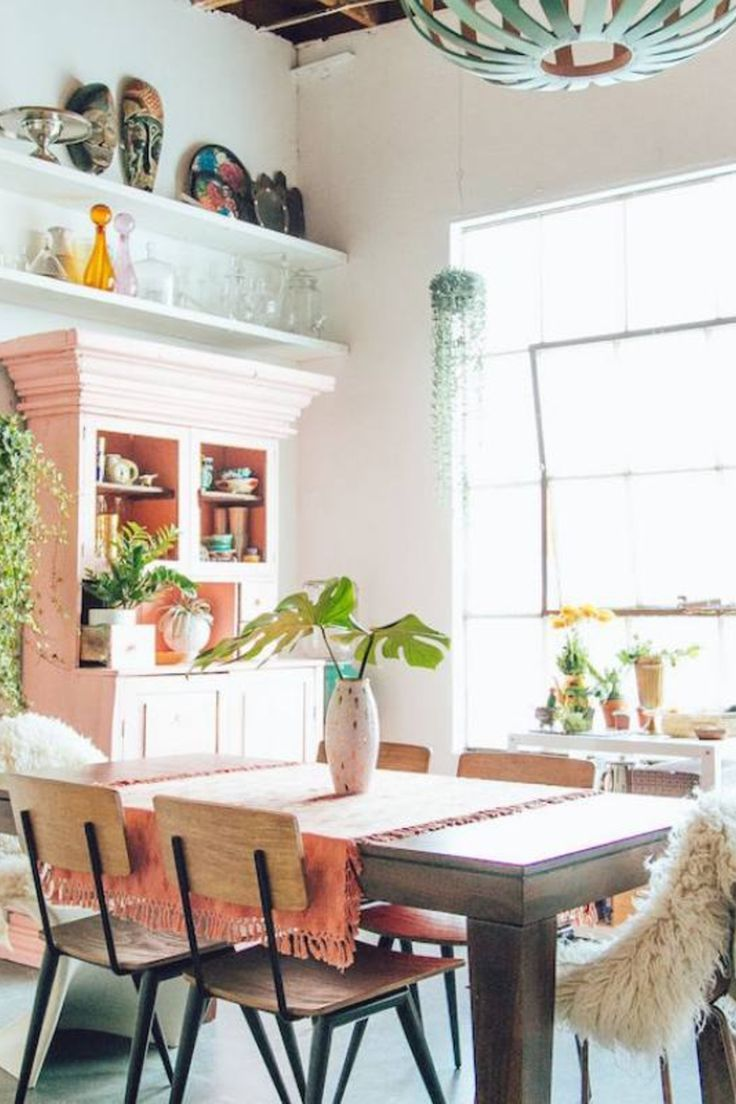 Room Redo Boho Chic Dining Room With Eclectic Chandelier Dining