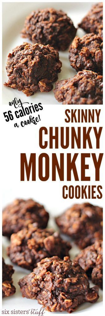 Skinny Chunky Monkey Cookies from SixSistersStuff.com - only 56 calories per cookie and a delicious snack or treat! #easyrecipes #healthysnacks #sixsistersrecipes