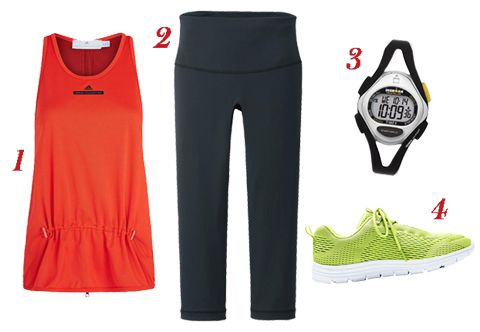 Adidas by Stella McCartney top, Uniqlo leggings, Ironman sport watch, Lands' End sneakers