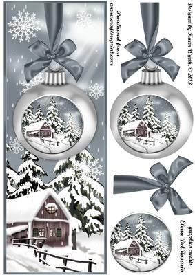 Lovely Silver Christmas Bauble Scene DL