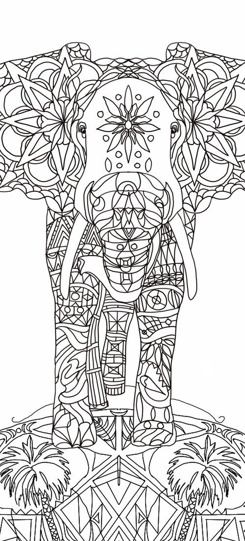 adult coloring book elephant clip art hand drawn original zentangle colouring page original drawings by valentina
