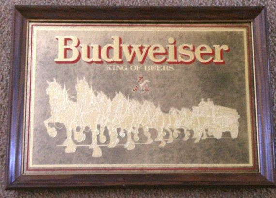 Vintage c. 1978 Budweiser bar mirror in wooden by BuyfromGroovy
