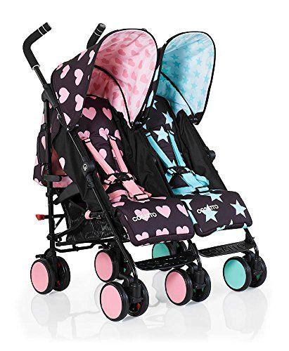 Cosatto Super Dupa Go - carrito gemelar, doble, para bebés rosa Lovestar